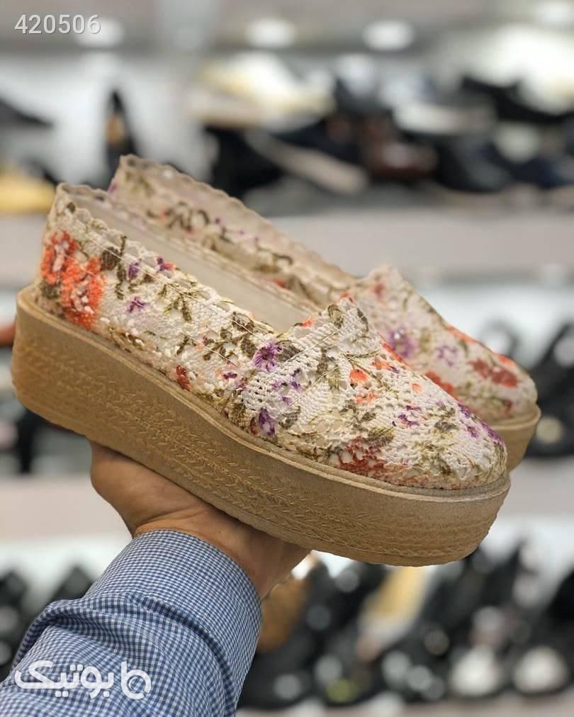 کفش جدید گیپوری چاپدار کرم كفش زنانه