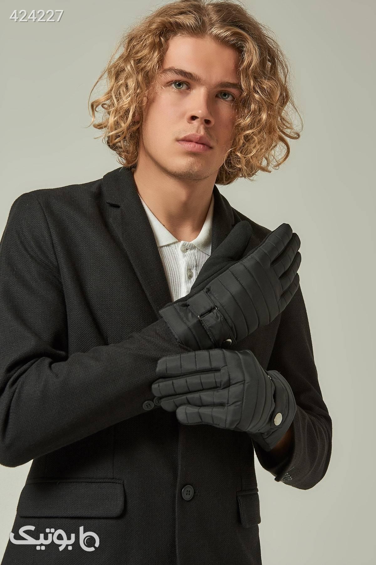 دستکش مشکی اکسسوار دار طرح دوخت مردانه برند Axesoire کد 1585375849 مشکی کلاه بافت و شال گردن و دستکش