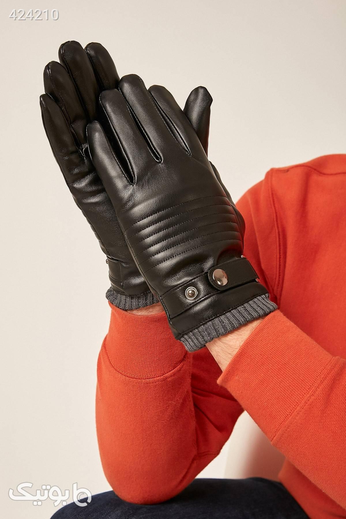 دستکش مشکی گارنیلی بافتنی چرم مردانه برند Axesoire کد 1585375834 مشکی کلاه بافت و شال گردن و دستکش
