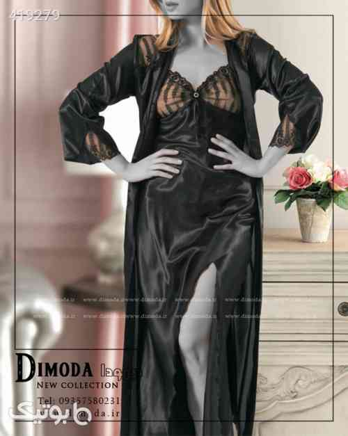 لباس خواب دوتیکه زنانه ترک Victoria 8614 مشکی 98 2020