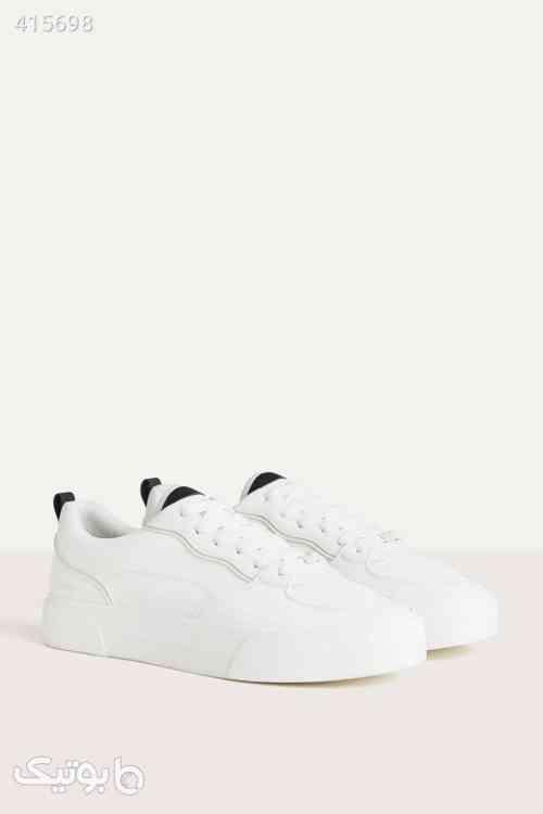 کفش پیاده روی اسپرت دوخت سفید مردانه برند Bershka کد 1583671383 سفید 98 2020