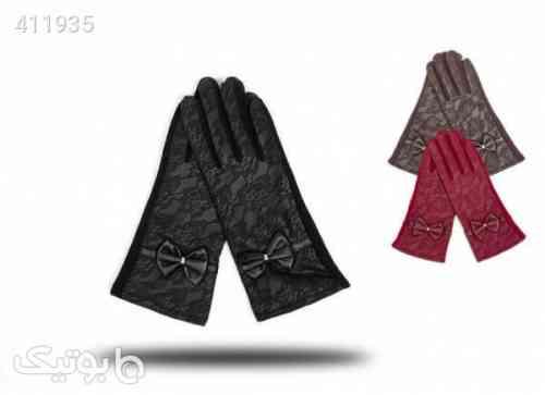 دستکش چرم زنانه طرح دار مشکی 98 2020