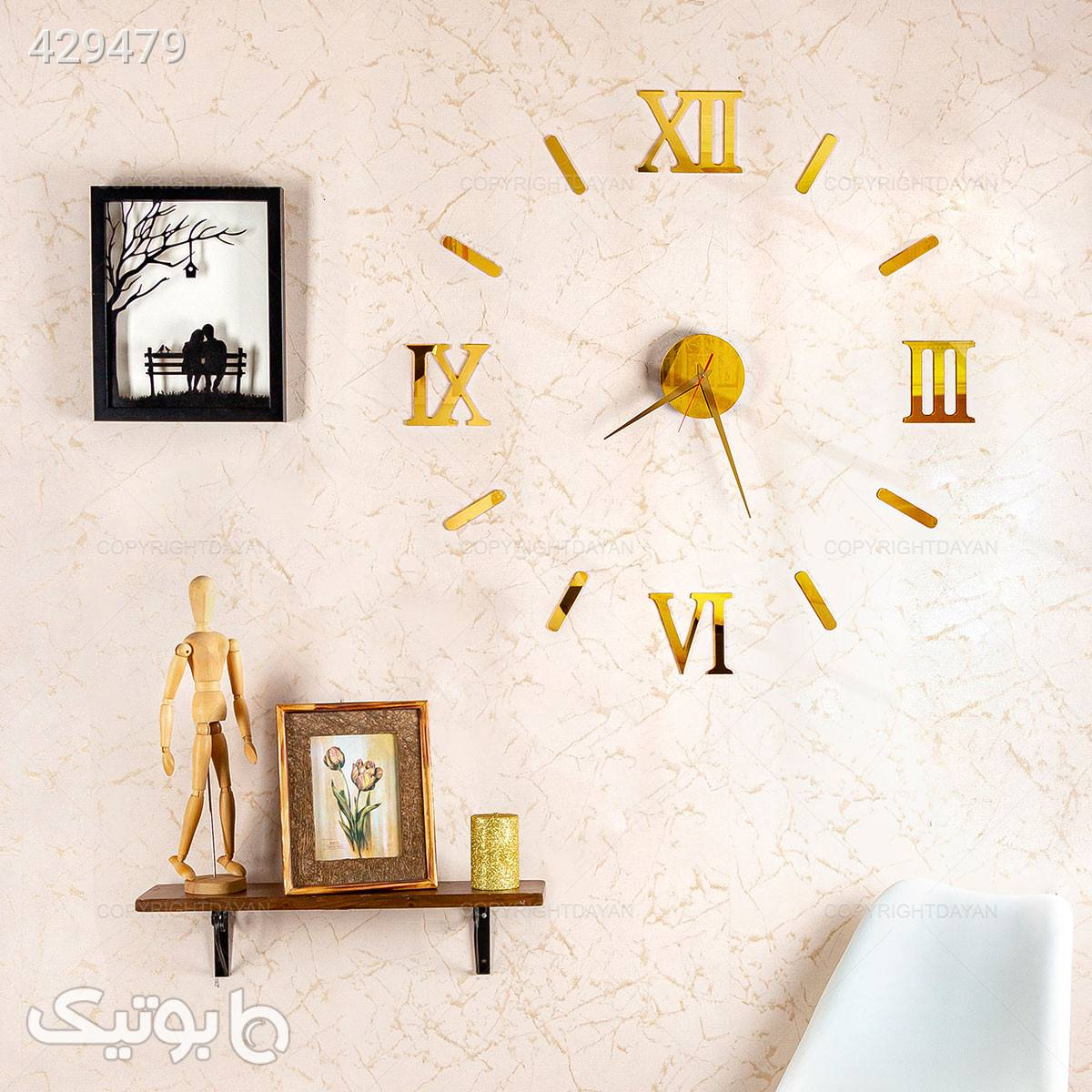 ساعت دیواری سه بعدی طلایی رومی زرد ساعت