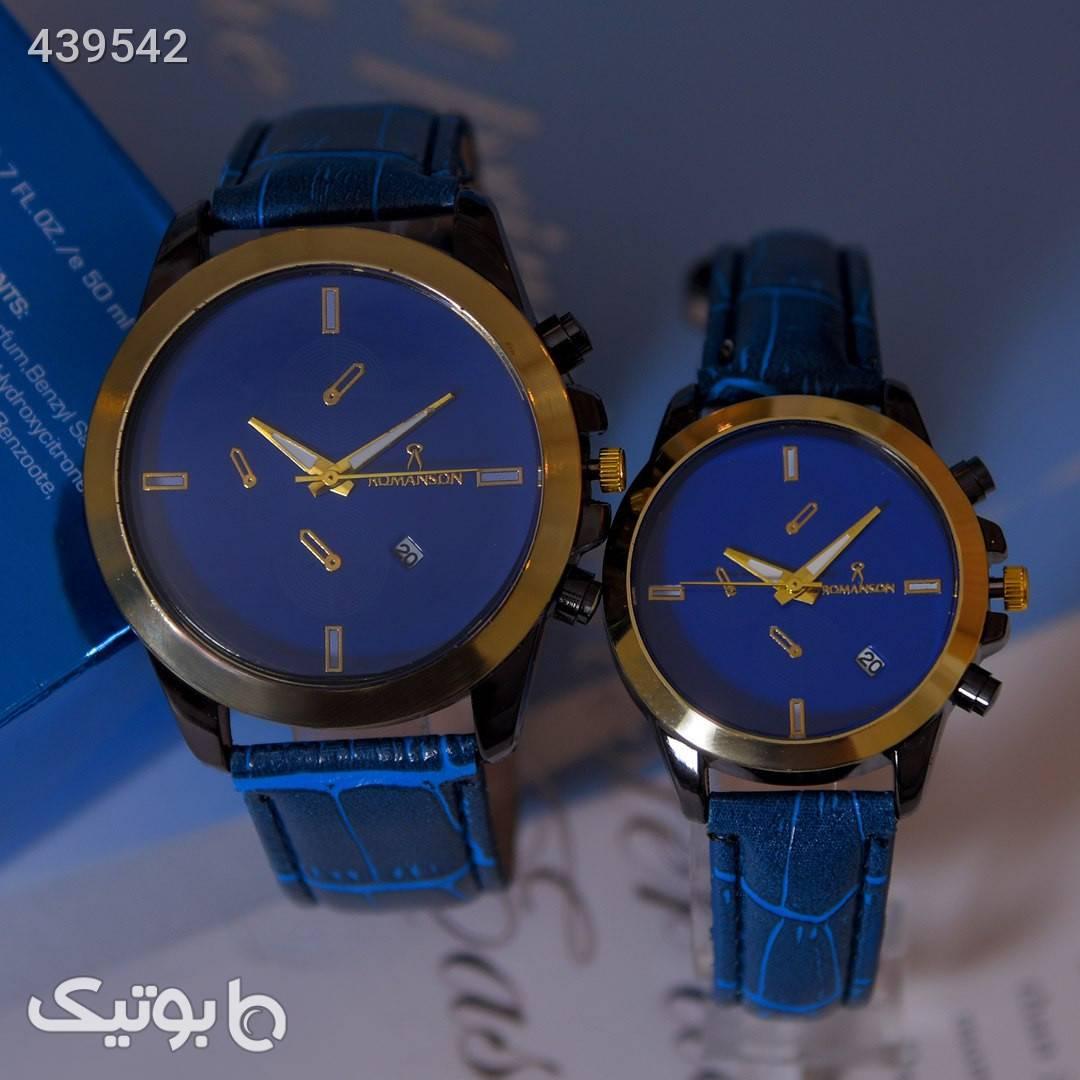 ست ساعت زنانه ومردانه Romanson آبی ساعت