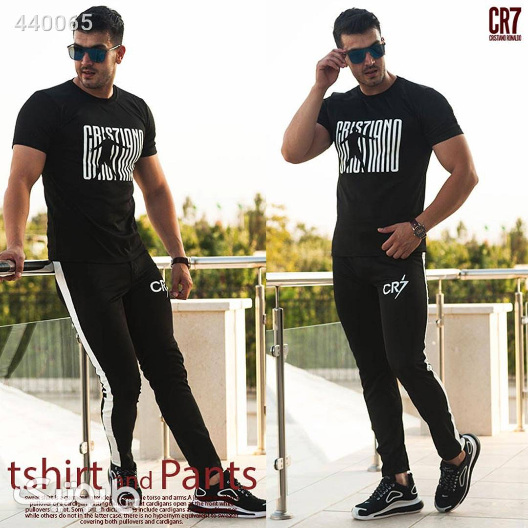 ست تیشرت و شلوار مدل CR7 مشکی ست ورزشی مردانه