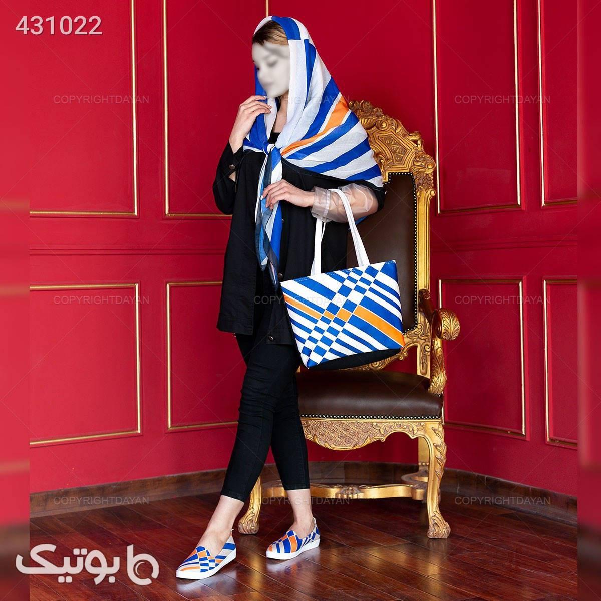 ست سه تیکه زنانه Selin مدل 12764  آبی شال و روسری