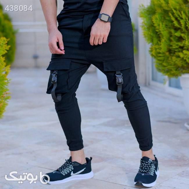 شلوار اسلش مردانه مدل Minos مشکی شلوار مردانه پارچه ای و کتان مردانه