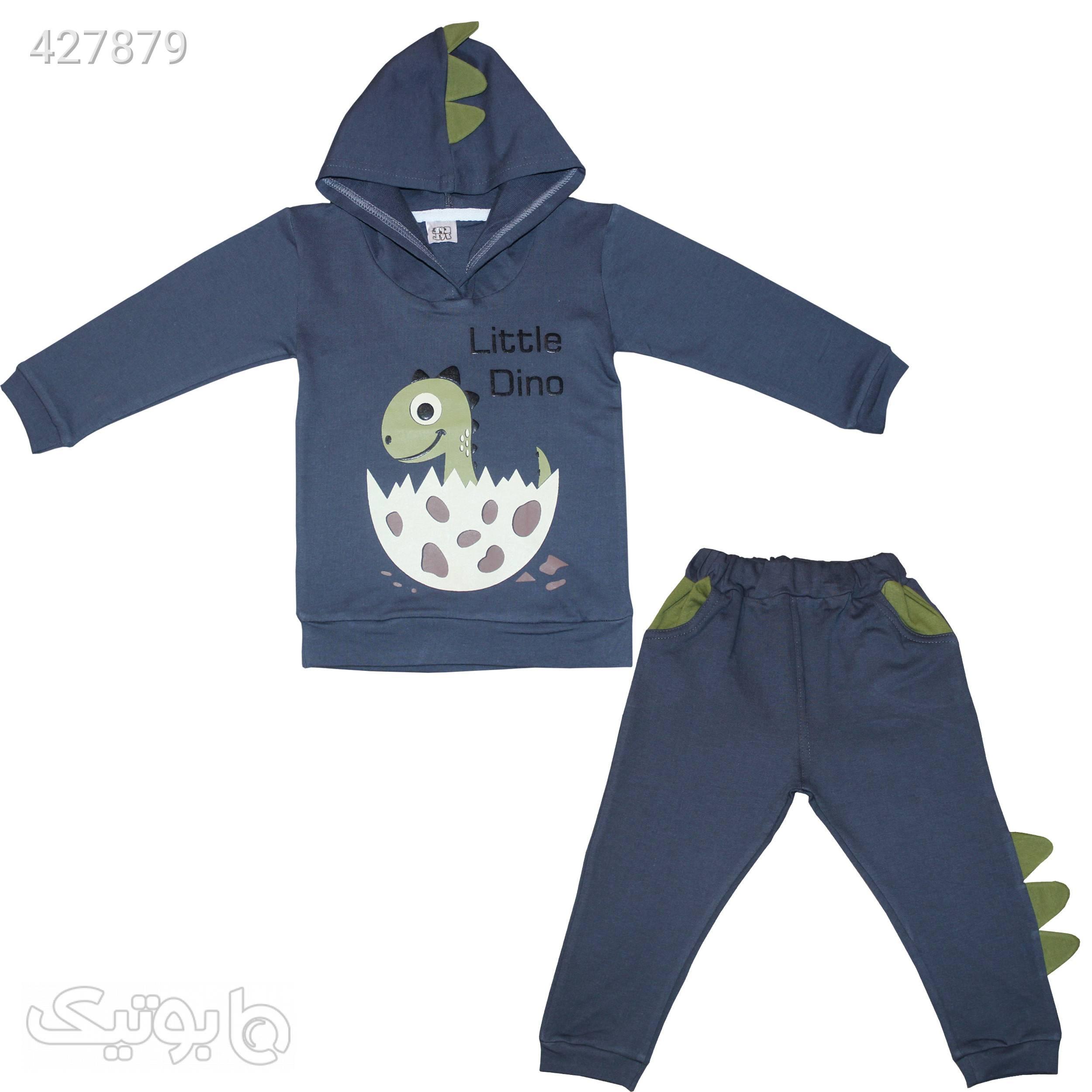 بلوز و شلوار داینو طوسی لباس کودک پسرانه