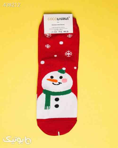 جوراب نخی طرح آدم برفی قرمز 99 2020