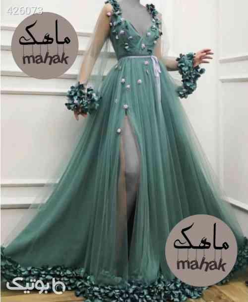لباس عروس مزون دوزماهک کد۷۶۱ تافته وتور سبز 99 2020