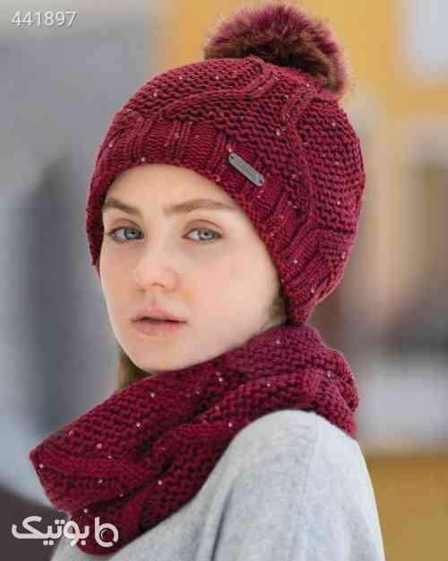 ست کلاه شال گردن رینگی پولک دار زنانه - زرشکی زرشکی 99 2020