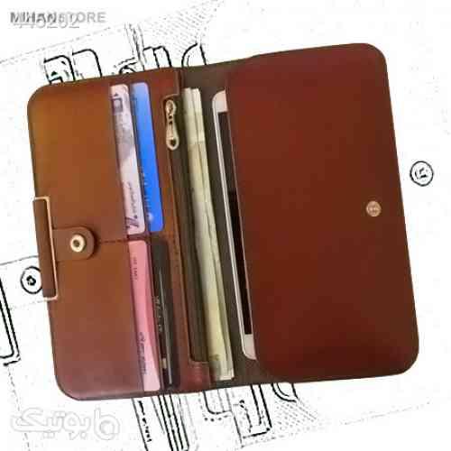 کیف چرم پول و موبایل لاکچری قهوه ای 99 2020