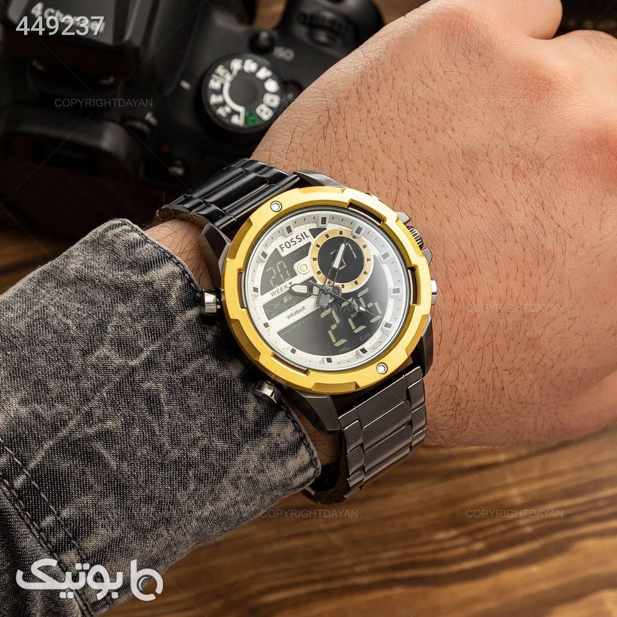 ساعت مچی مردانه فسیل   زرد ساعت