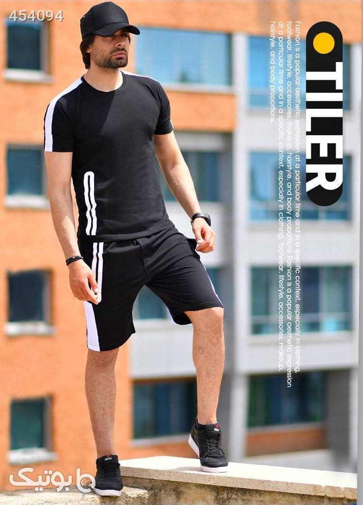 ست تيشرت و شلوارك مردانه TILER مشکی ست ورزشی مردانه