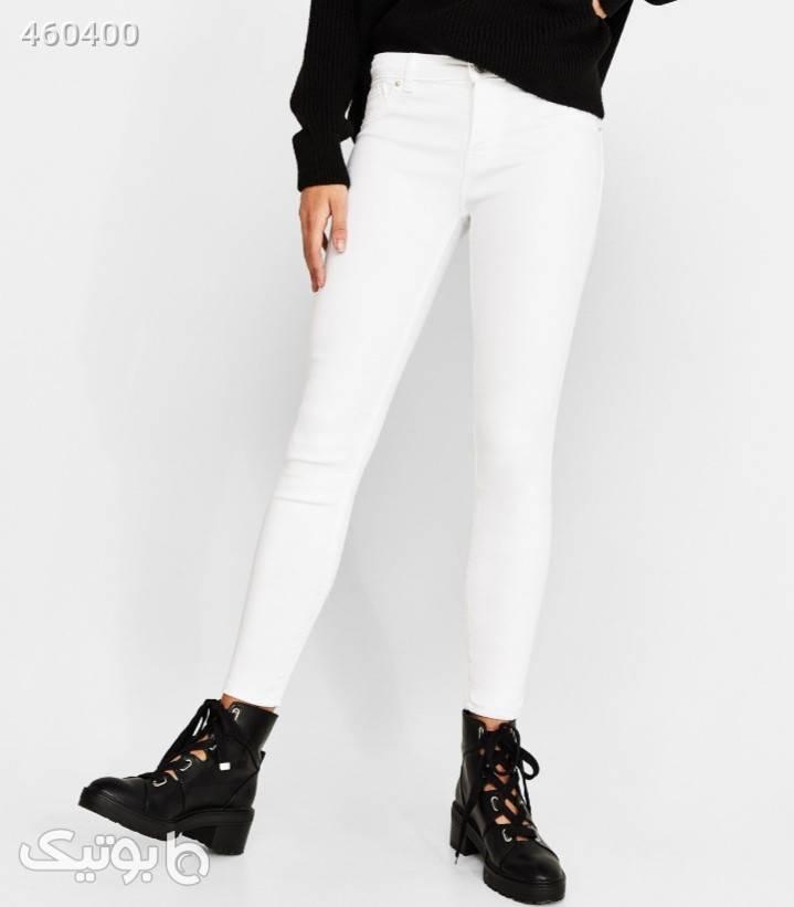 شلوار جین سفید  سفید شلوار پارچه ای و کتانی زنانه