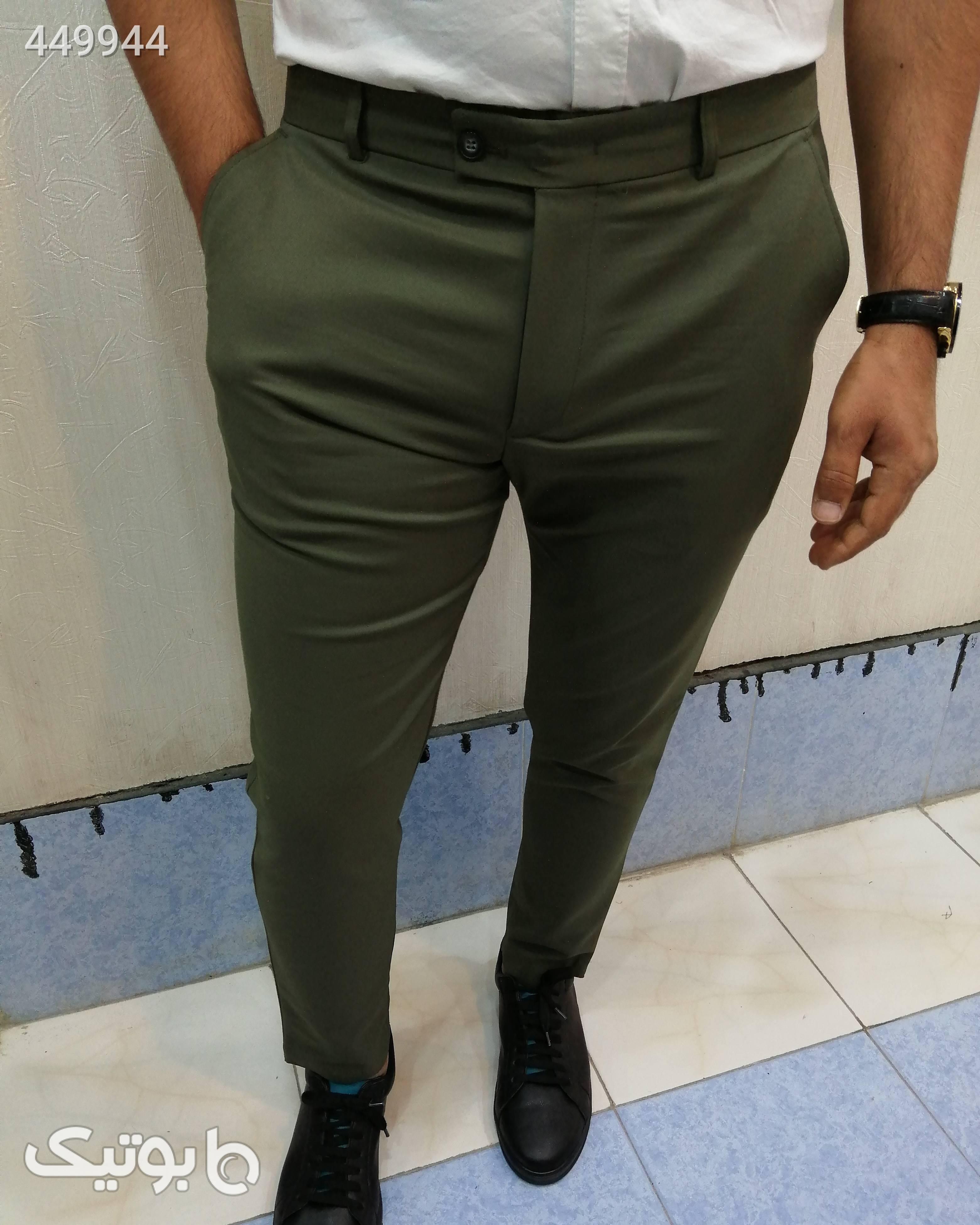 شلوار کتان پارچه ای کشی سبز شلوار مردانه