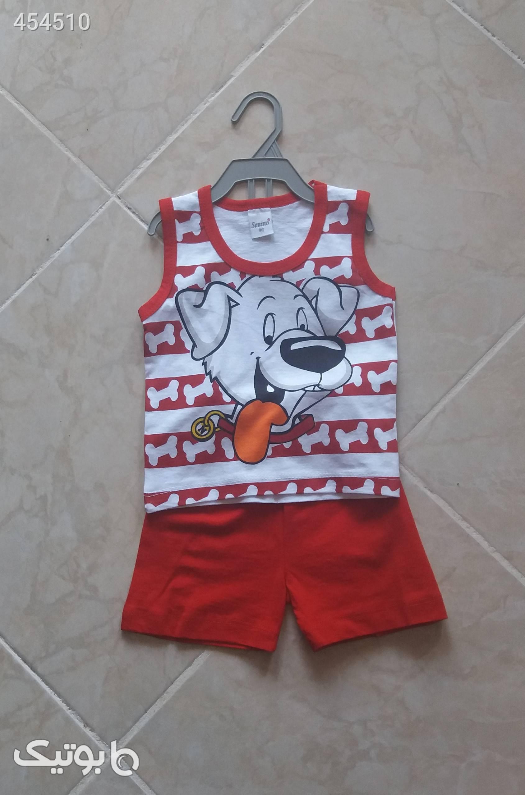 بلوز شورت پسرانه کار ترک قرمز لباس کودک پسرانه