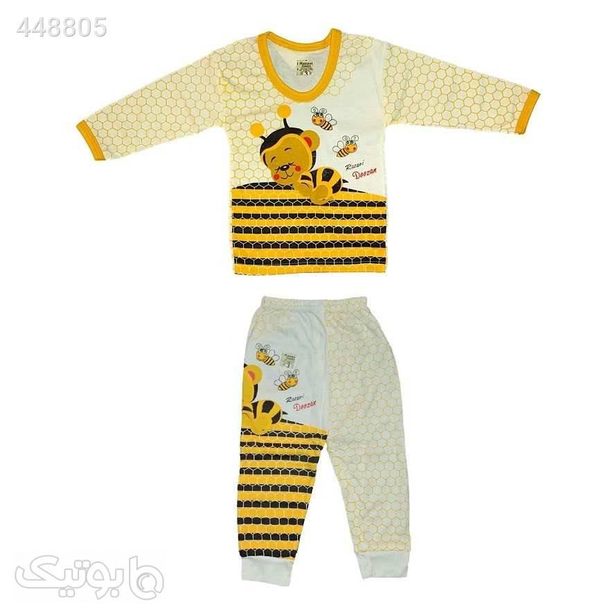 ست تی شرت و شلوار نوزادی کد 280ZA سفید لباس کودک پسرانه