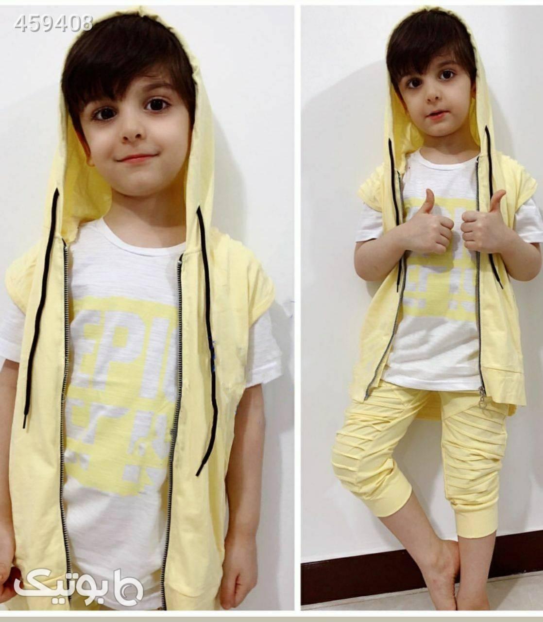 سه تیکه اسپرت زرد لباس کودک پسرانه