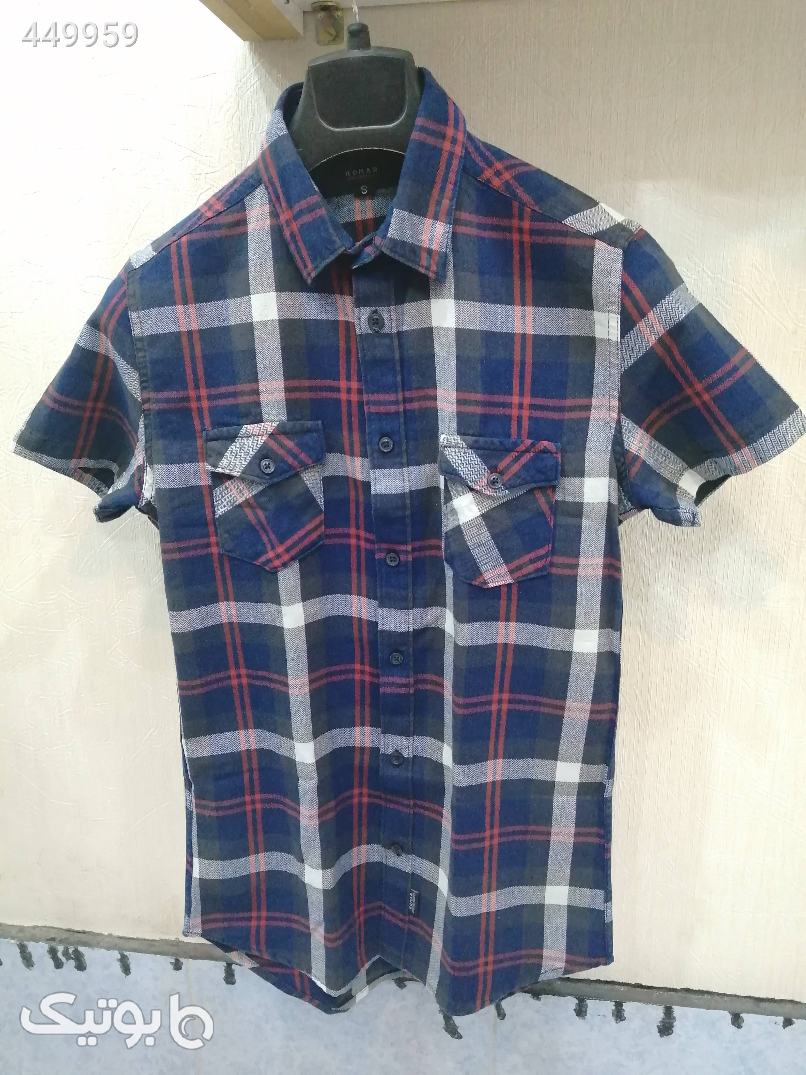 پیراهن آستین کوتاه دو جیب سورمه ای پيراهن مردانه