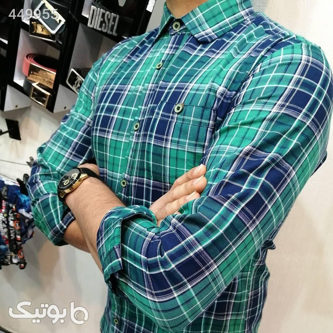 پیراهن چهارخونه نخی تابستانه سبز پيراهن مردانه