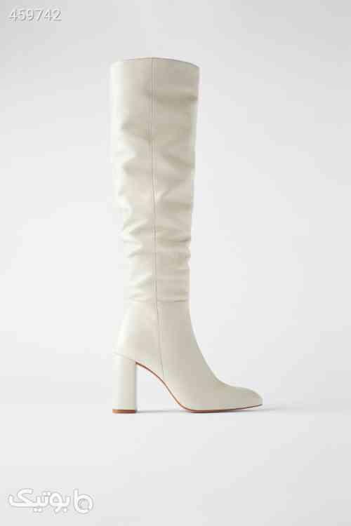 بوت سفید چرم ساق بلند زارا Zara سفید 99 2020