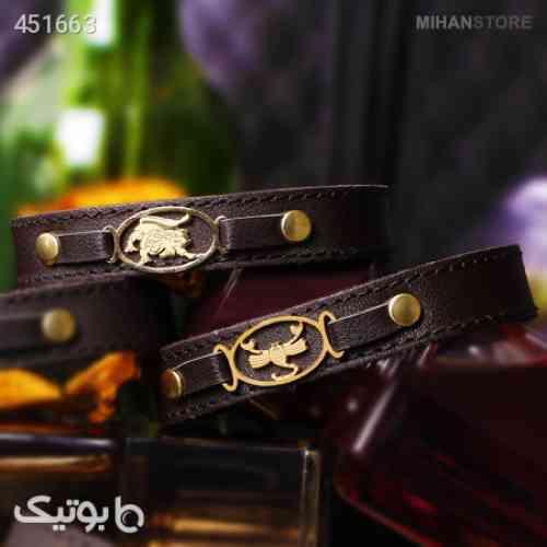 دستبند دستبند چرم طرح ماه تولد  زرشکی 99 2020