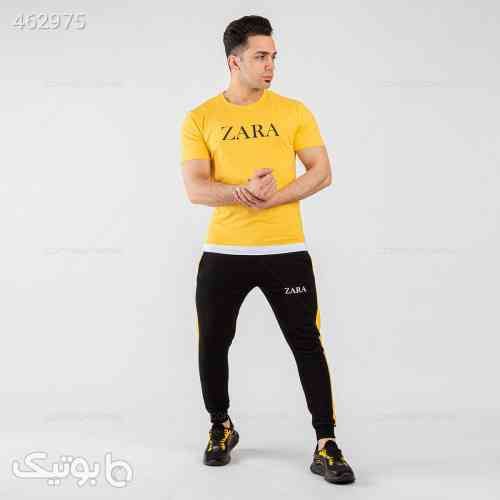 ست تیشرت و شلوار مردانه Zara  زرد 99 2020
