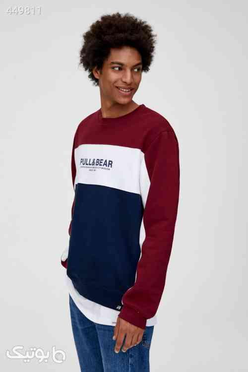 سوییشرت و لوگو رنگارنگ یاسی مردانه برند Pull & Bear کد 1588747677 زرشکی 99 2020