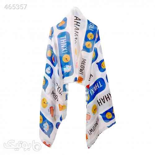 شال چت آبی نخ گالری - شال و روسری
