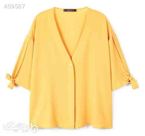 شومیز آستین سه ربع زنانه - ویولتا بای مانگو زرد 99 2020