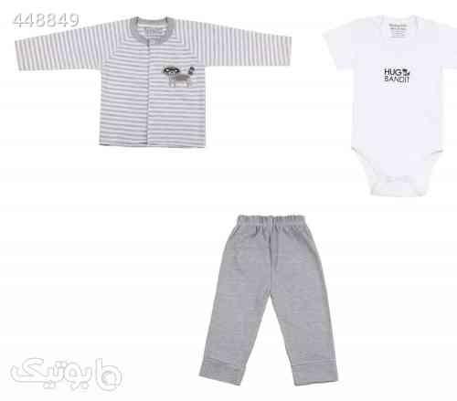 ست 3 تکه لباس نوزادی پسرانه طرح راکون سفید 99 2020