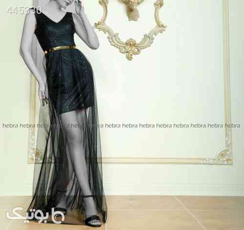 لباس مجلسی کوتاه و بلند دخترانه کد 473 مشکی 99 2020