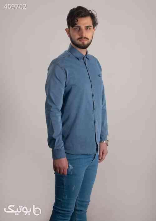 پیراهن مردانه پنبه طرح جین آبی آبی 99 2020