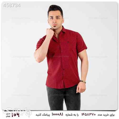 پیراهن نخی چهارخونه آستین کوتاه قرمز 99 2020