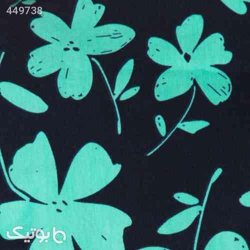 پیراهن نخی گلدار کوتاه زنانه - سرمه ای تیره با گل های صورتی سورمه ای 99 2020
