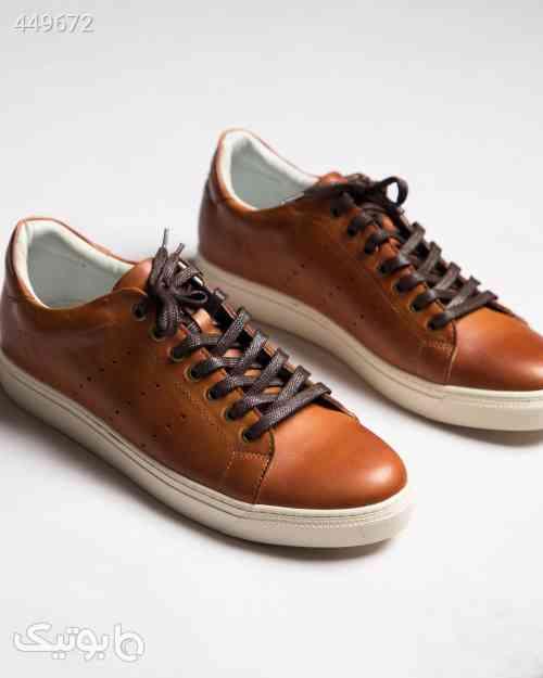 کفش چرم مردانه بند دار - بادامی قهوه ای 99 2020