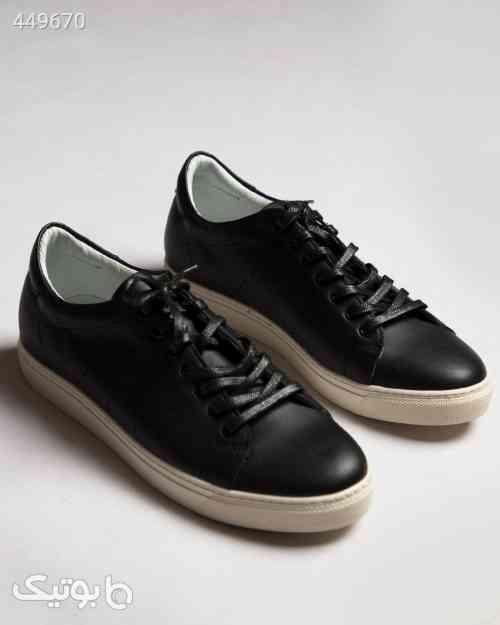 کفش چرم مردانه بند دار - مشکی مشکی 99 2020