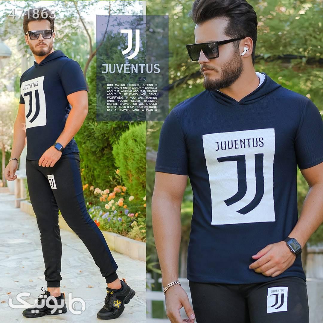 ست تیشرت کلاه دار و شلوار Juventus  مشکی ست ورزشی مردانه