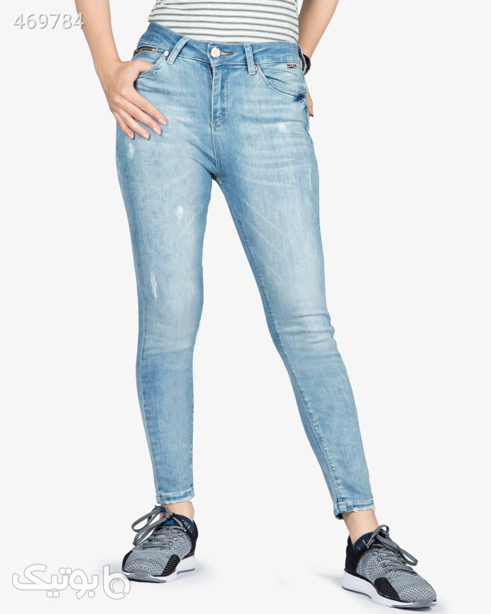 شلوار جین آبی روشن زنانه فیروزه ای شلوار زنانه