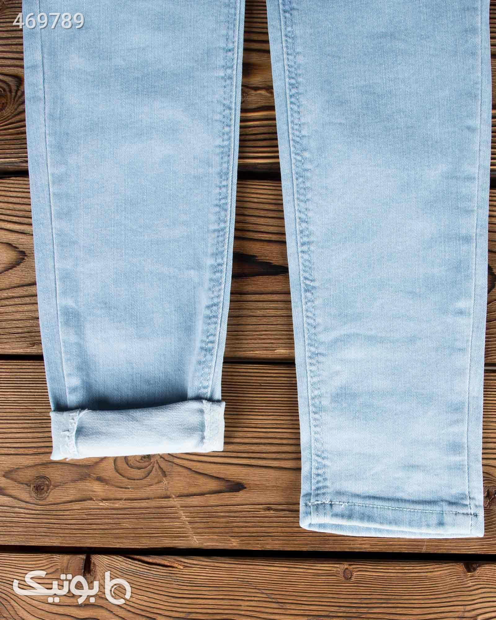 شلوار جین آبی روشن کشی زنانه فیروزه ای شلوار زنانه