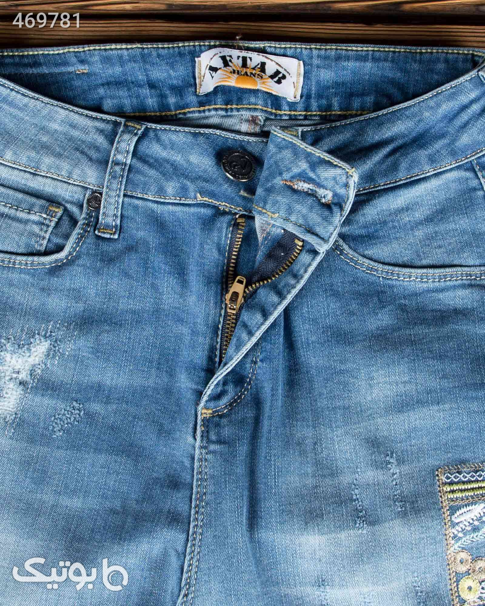 شلوار جین گلدوزی جذب زنانه آبی شلوار زنانه