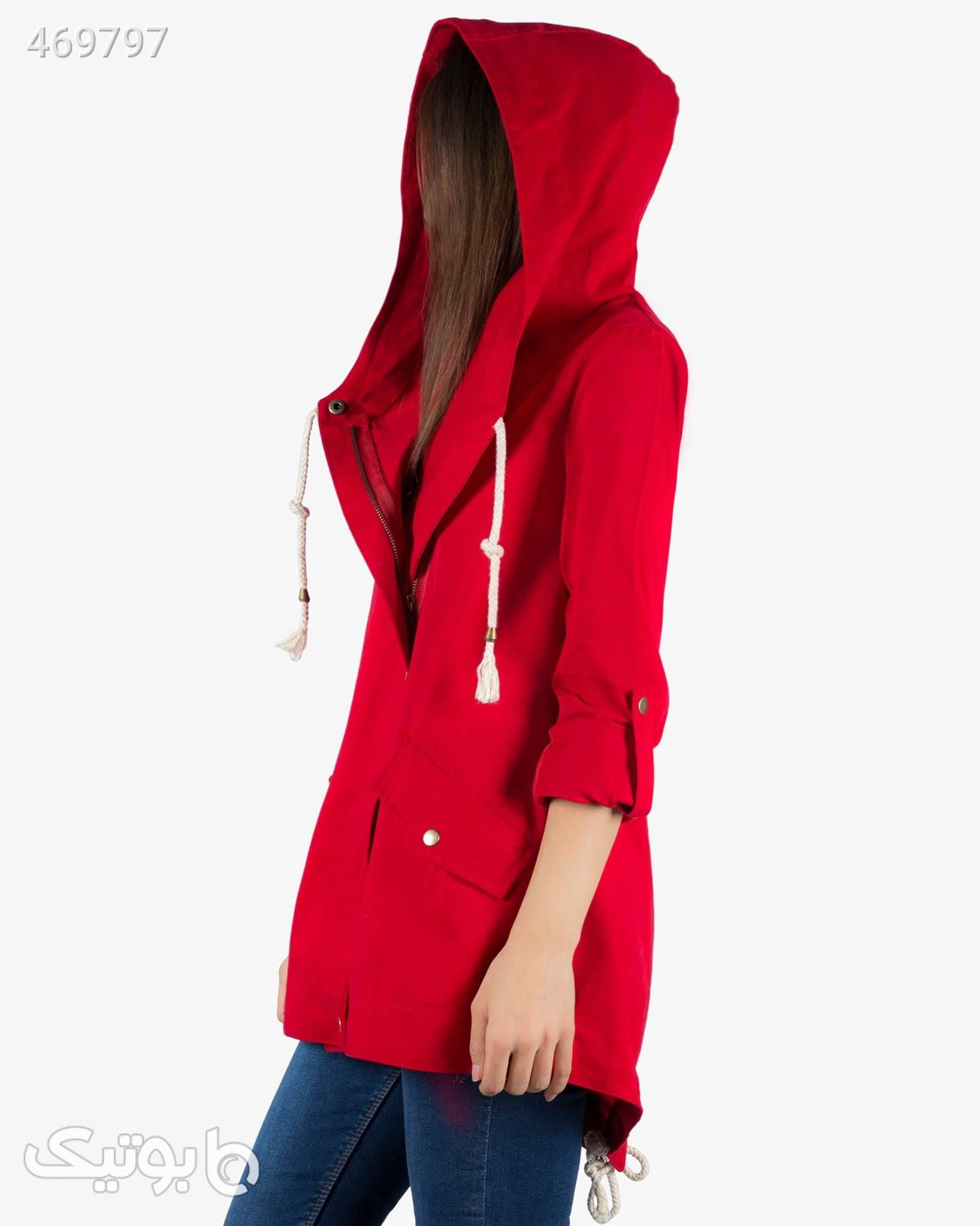 مانتو کوتاه کلاه دار پاییزه - قرمز قرمز مانتو