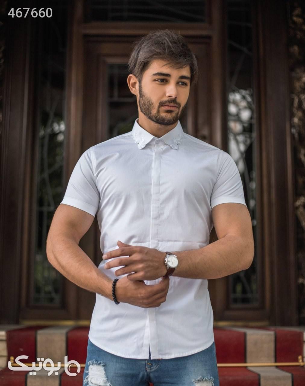 پیراهن آستین کوتاه اندامی مشکی پيراهن مردانه
