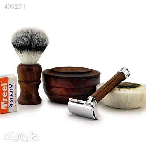 4 Pcs Wooden Made Men's Shaving Gift Kit Classic Wet Shave Safety Razor, Synthetic Brush Free Blades|Light Handle|Easy blade refill قهوه ای 99 2020
