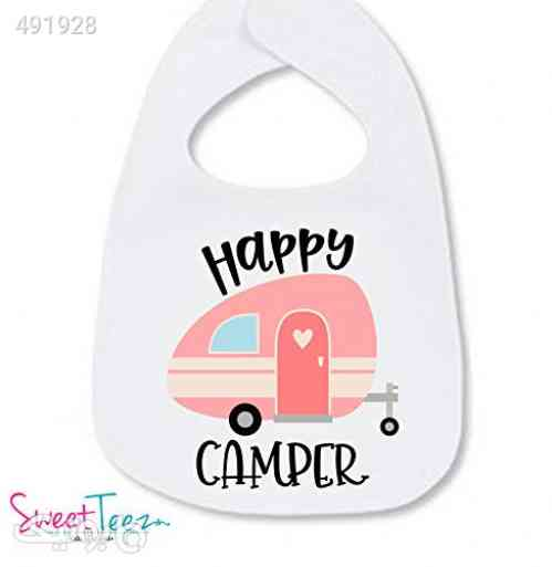 Happy Camper Bib For Baby Girl Camping Gear Cute Gift For Baby Girl سفید 99 2020