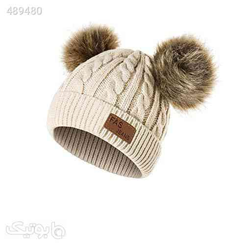 Infant Toddler Beanie Woolen Hat Pure Color Winter Twist Double Pom Pom Wool Knitted Cap for 1-3 Years Old کرم 99 2020