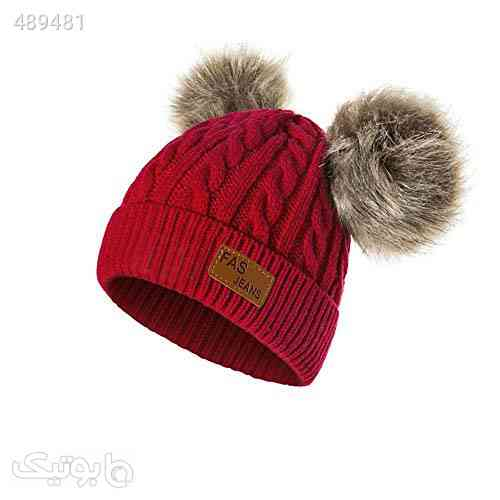 Infant Toddler Beanie Woolen Hat Pure Color Winter Twist Double Pom Pom Wool Knitted Cap for 1-3 Years Old قرمز 99 2020