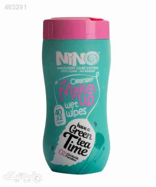 دستمال مرطوب پاککننده آرایش نینو Nino مدل Green Tea بسته 40 عددی فیروزه ای 99 2020