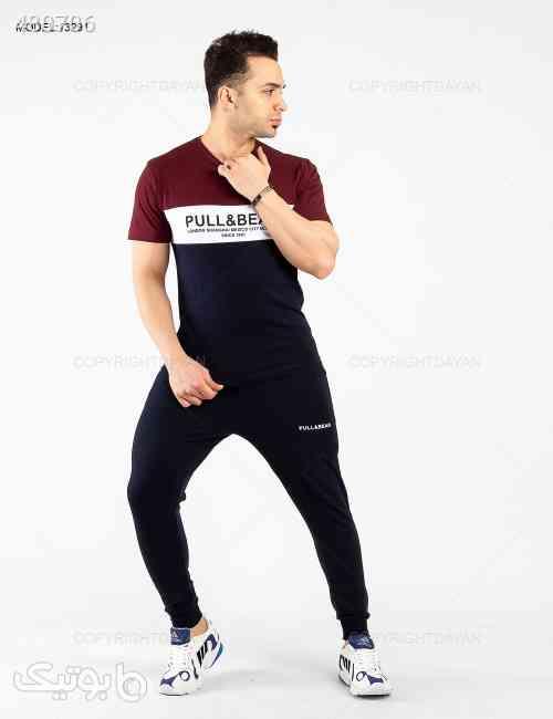 ست تیشرت و شلوار مردانه Pull & Bear مدل 13291 زرشکی 99 2020